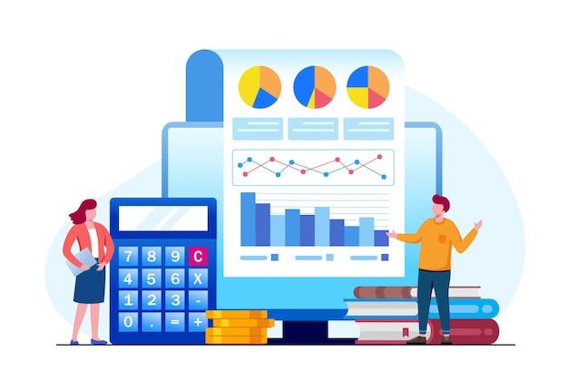 Illustrazione vettoriale piatta del concetto di finanza dell'analista della riunione d'affari per banner e landing page