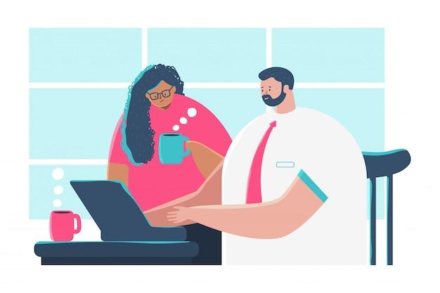 Illustrazione di concetto del fumetto di riunione d'affari di un uomo e di una donna al computer con una tazza di caffè.