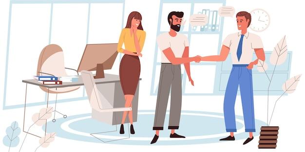 Concetto di riunione d'affari in design piatto. i dipendenti si stringono la mano, parlano e discutono delle attività lavorative. i colleghi comunicano in ufficio. scena di persone di collaborazione e partnership. illustrazione vettoriale