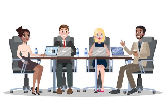 Riunione d'affari nel concetto di sala conferenze. squadra sul seminario e uomo che fa la presentazione per i colleghi. illustrazione vettoriale in stile cartone animato