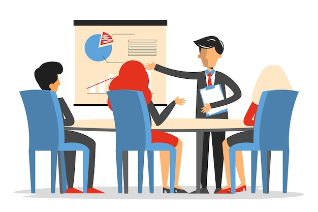 Riunione d'affari nella sala conferenze isolata. l'uomo fa la presentazione in ufficio.