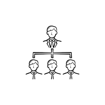 Icona di vettore di doodle di contorno disegnato a mano di riunione d'affari. i membri del team sulla riunione d'affari schizzo illustrazione per stampa, web, mobile e infografica isolato su sfondo bianco.