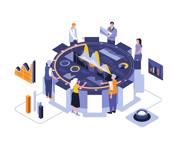 Modello isometrico dell'illustrazione di riunione d'affari