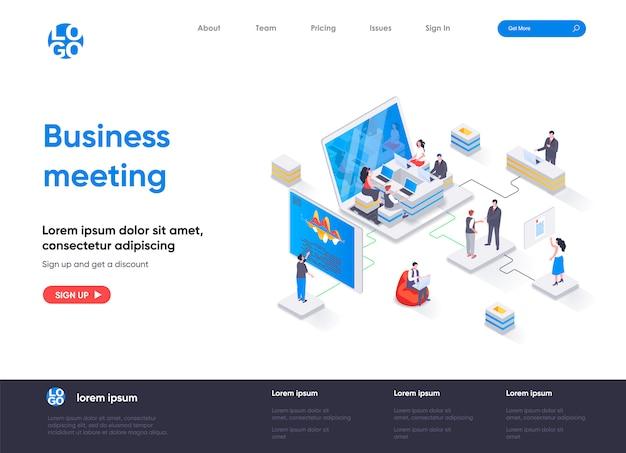Modello di pagina di destinazione isometrica di riunione d'affari