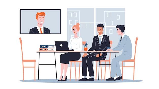 Riunione d'affari online nel concetto di sala conferenze. squadra al seminario. illustrazione
