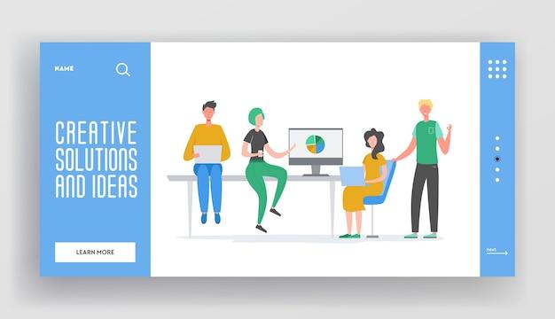 Modello di pagina di destinazione del concetto di lavoro di squadra di riunione d'affari. caratteri della donna e dell'uomo d'affari, colleghi che comunicano il brainstorming, idea di discussione per il sito web o la pagina web.