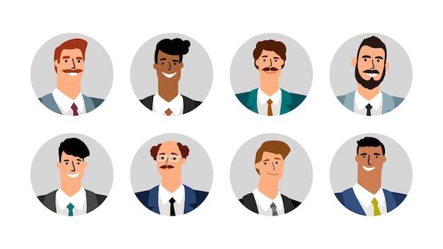 Avatar di uomini d'affari. volti maschili sorridenti. bandiere rotonde di vettore con ragazzi di nazionalità diversa