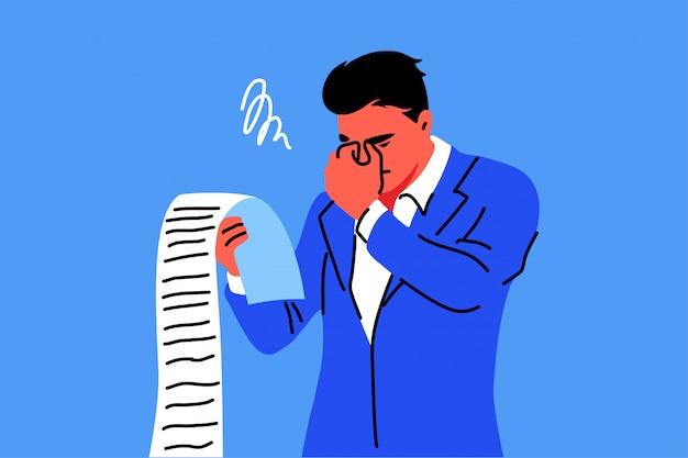 Affari, stress mentale, fallimento, concetto di debito
