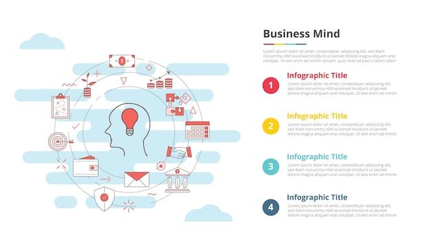 Concetto di mente aziendale per banner modello infografico con vettore di informazioni sull'elenco a quattro punti