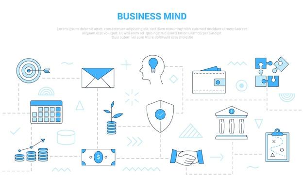 Concetto di mente aziendale con banner modello set di icone con illustrazione vettoriale di stile moderno di colore blu