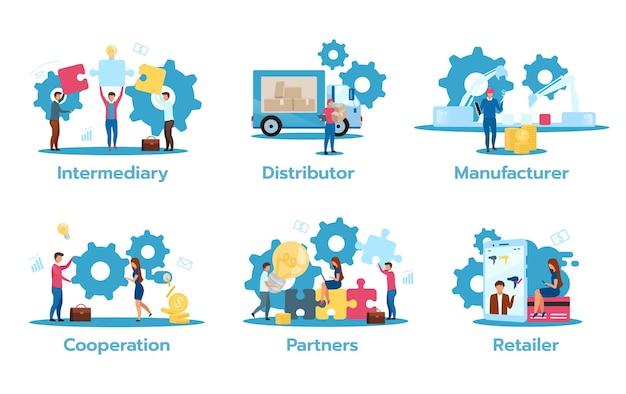 Illustrazione piana del modello di affari isolata