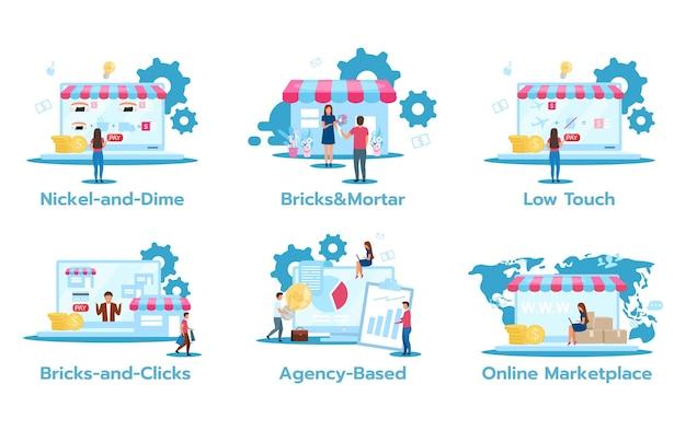 Set di modelli di business flat s. nickel-and-dime. mattone e malta. basso tocco. mattoncini e clic. basato sull'agenzia. mercato online. strategie di marketing.