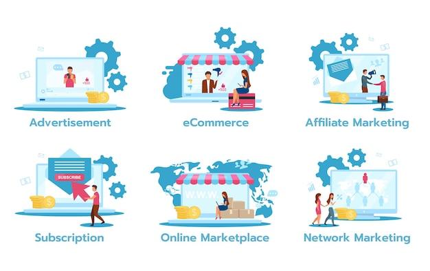 Set piatto modello di business. annuncio pubblicitario. e-commerce. marketing di affiliazione. sottoscrizione. mercato online. marketing in rete. strategie di trading.