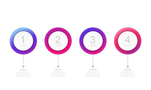 Modello di infografica moderna aziendale. processo con 4 passaggi, opzioni, cerchi