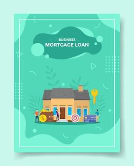 Prestito ipotecario aziendale persone davanti casa portafoglio piano di destinazione carta banca chiave
