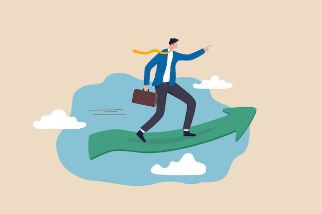 Affari che vanno avanti per raggiungere il successo, visione della leadership per il concetto di crescita della carriera, uomo d'affari intelligente motivato che guida il grafico della freccia verde che sale in alto nel cielo che punta al bersaglio futuro.