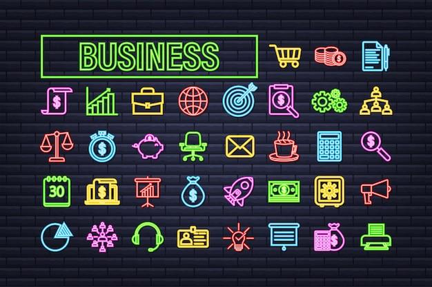 Insieme dell'icona di affari al neon. rete commerciale. insieme dell'icona della linea di denaro. illustrazione di riserva di vettore.