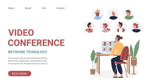 Modello di sito web di tecnologia di rete aziendale con giovane donna freelance