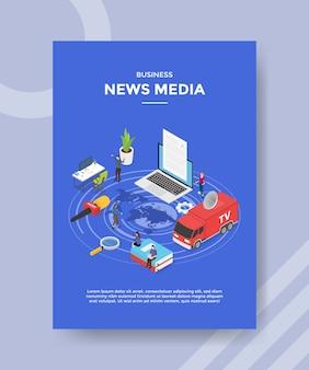 Notizie di affari media peopleon mappa mondo intorno computer portatile microfono libro tv report car