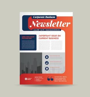 Design della copertina della newsletter aziendale o design del diario o design del report mensile o annuale