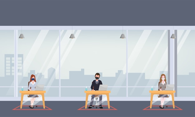 La gente dell'ufficio di affari mantiene la stanza dell'ufficio di distanziamento sociale. nuovo normale stile di vita nel lavoro.