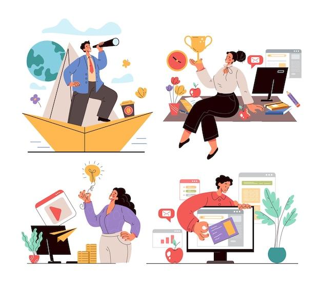 Vincitori del team di persone dell'ufficio di affari che lavorano