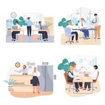 Set di scene concettuali di uffici commerciali