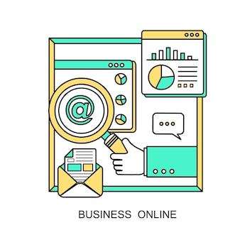 Concetto di business online: una mano che tiene una lente d'ingrandimento in stile linea