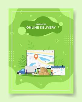 Persone di consegna in linea di affari intorno alla posizione di tracciamento gps del calendario della scatola del pacchetto di spedizione del camion per il modello dei banner