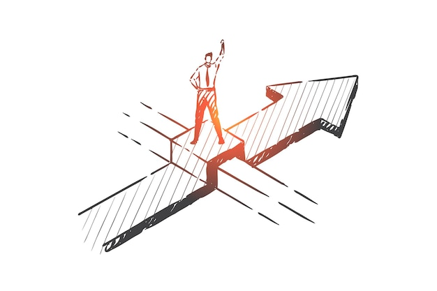 Opportunità di business, ostacoli che superano illustrazione di schizzo di concetto
