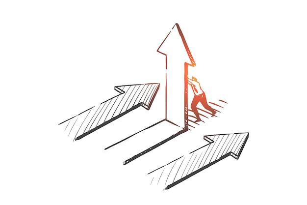 Opportunità di business, percorso scegliendo illustrazione di schizzo di concetto