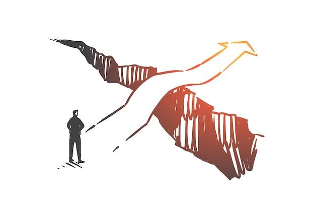 Opportunità di business, soluzione, illustrazione di schizzo di concetto di visione