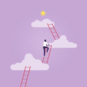Opportunità di business scala di successo o aspirazione a raggiungere il concetto di obiettivo aziendale