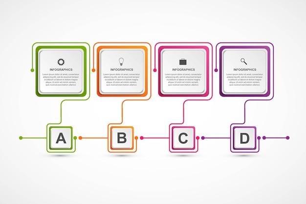 Opzioni di business infografica, timeline, modello di progettazione.