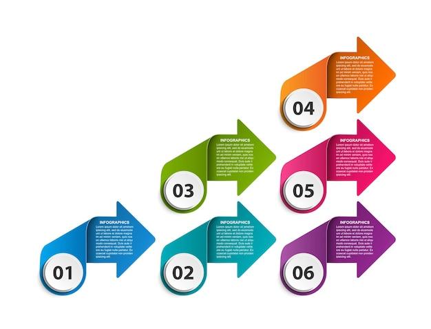 Infografica di opzioni aziendali, cronologia, modello di progettazione design