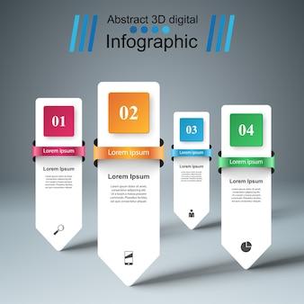 Stile di origami di affari infographic. quattro oggetti