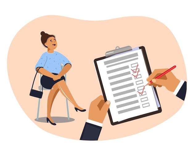 Capo del proprietario di affari che intervista i candidati femminili per il lavoro in ufficio. gestione delle risorse umane