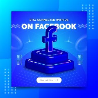 Modello di post banner sui social media per la promozione della pagina aziendale in stile 3d