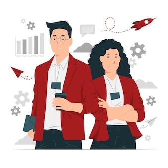 Business partner, partnership, uomo d'affari e illustrazione di concetto di donna d'affari
