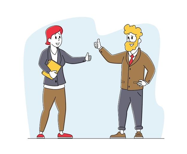 Contratto di partner commerciali. personaggi partnership, deal concept