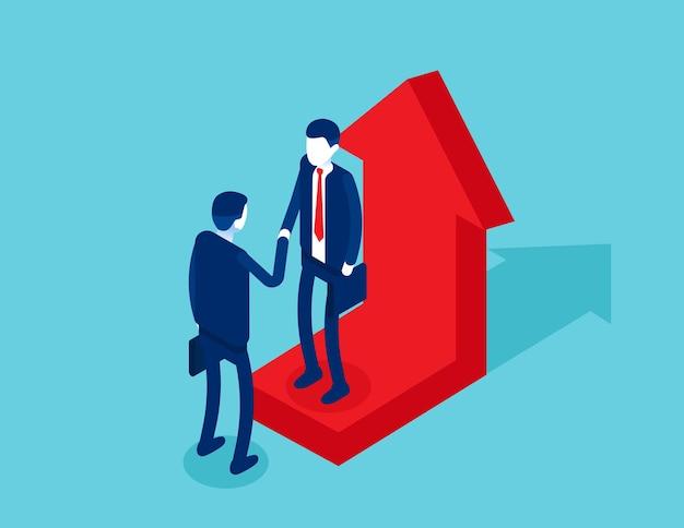 Partner commerciali che stringono la mano sulla freccia in crescita