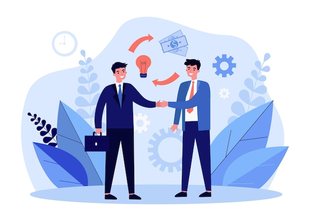 Partner commerciali che agitano le mani illustrazione