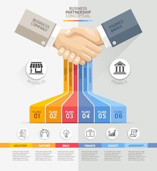 Concetto di connessione di partnership commerciale.