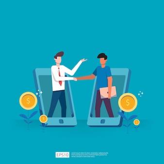 Accordi e accordi di partnership commerciale per raggiungere il successo nel lavoro di squadra e nella progettazione del concetto di profitto. investimento dell'uomo d'affari sulla startup tecnologica facendo le strette di mano. illustrazione piatta