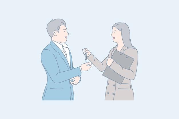 Disegnato a mano di partnership commerciale