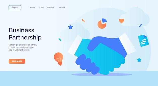 Campagna dell'icona di scossa della mano di associazione di affari per il modello di atterraggio della pagina iniziale del sito web web con stile del fumetto.