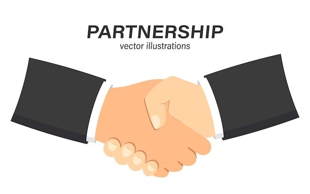 Stretta di mano di partnership commerciale saluto di partnership felice agitare accordo di stretta di mano casuale