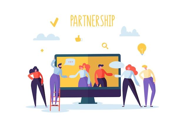 Concetto di riunione online di partenariato aziendale