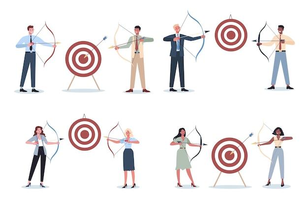 Uomini d'affari che mirano a bersaglio e sparano con set di frecce. il dipendente spara al bersaglio. uomo e donna ambiziosi che sparano. idea di successo e motivazione.