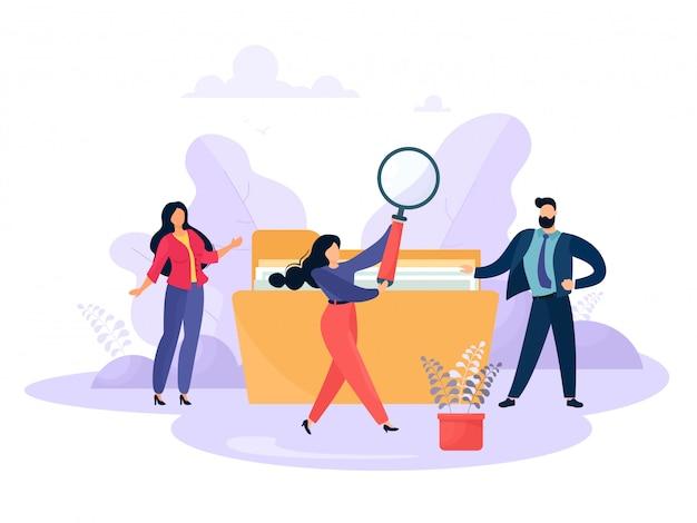 Gli uomini d'affari sono alla ricerca di file. le persone con una cartella e un impiegato usano una lente d'ingrandimento. personaggi dei cartoni animati in stile piatto.